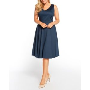 Retro Style Navy Fit & Flare Swing Dress S
